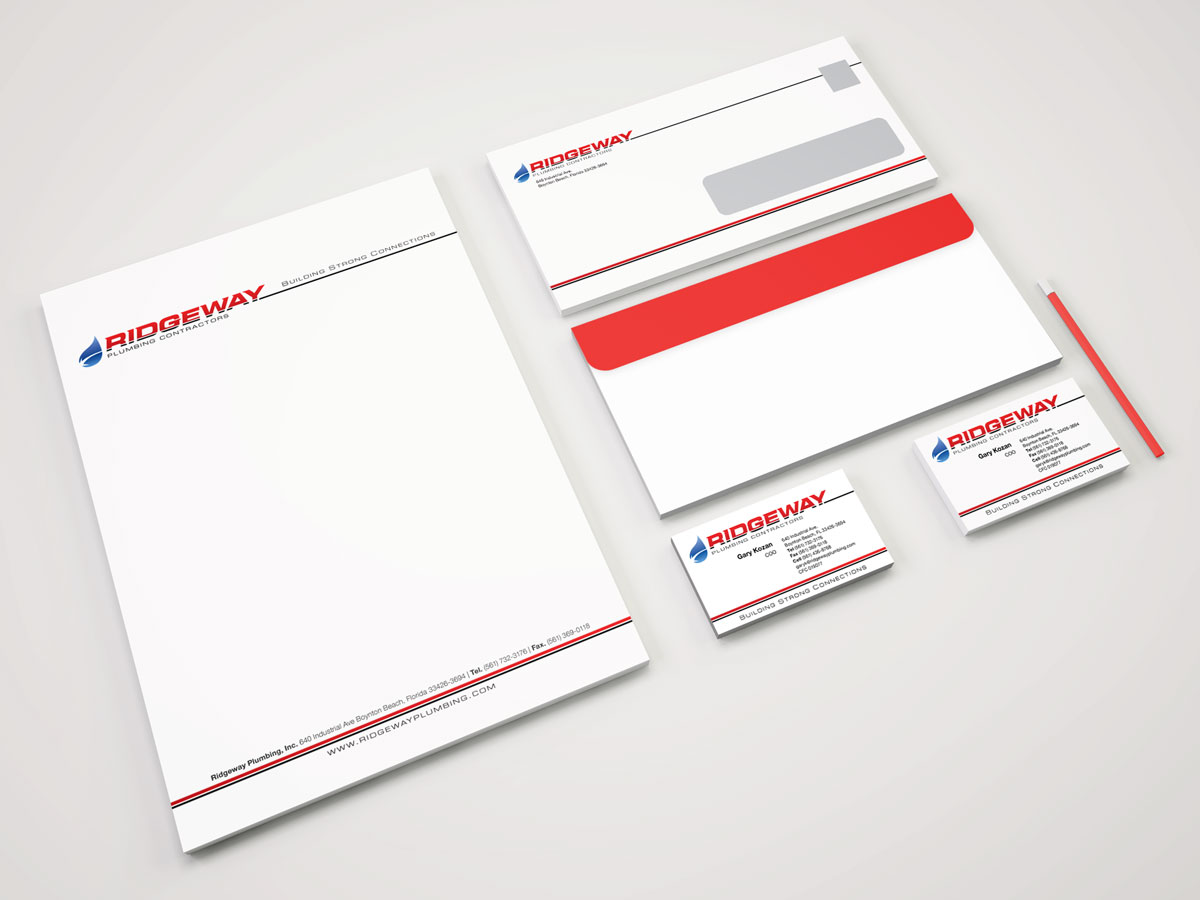 Ridgeway Plubming's logo, business card, and letterhead designs.