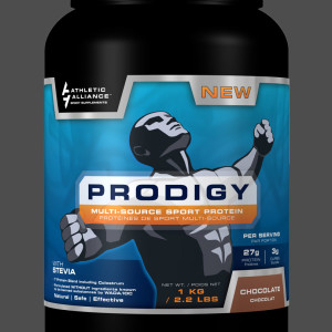 Athletic Alliance's Prodigy Chocolate sports supplement label design by Ripley Studios