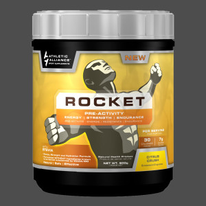 Athletic Alliance's Rocket sports supplement label design by Ripley Studios