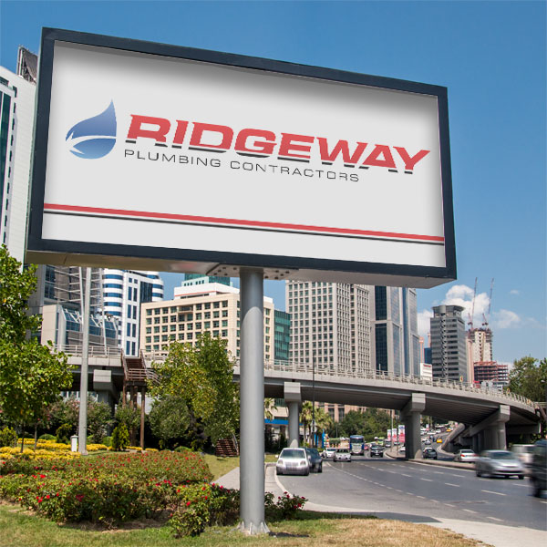 Ridgeway Plumbing's logo displayed on a billboard