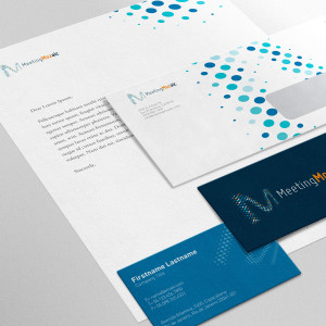 Meeting Mozaic's logo, letterhead, business card, and envelope designs.