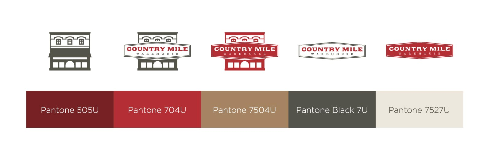 A collection of all of Country Mile Warehouses' logotypes
