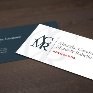 ACMR Advogados business card design.