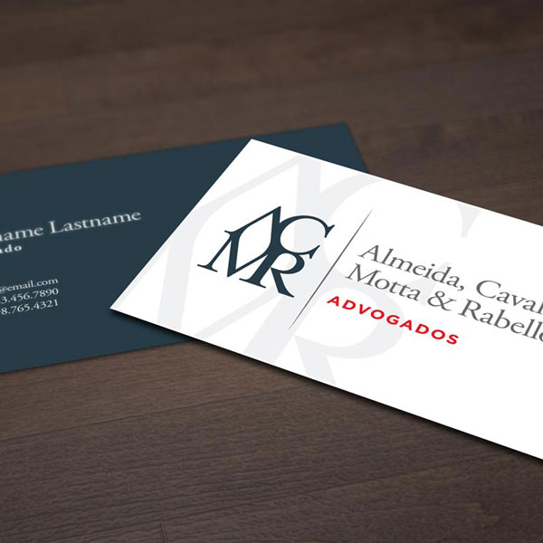 The business cards Nathan Ripley designed for ACMR Advogados