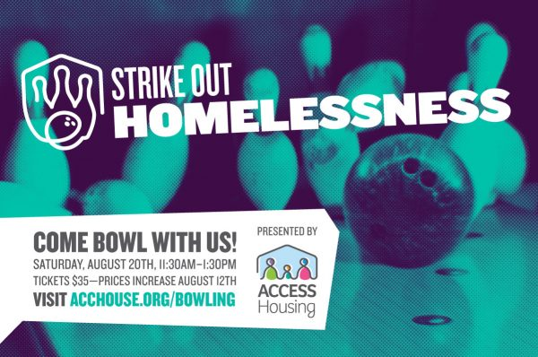 Media design promoting Access Housing's bowling event, Strike Out Homelessness.