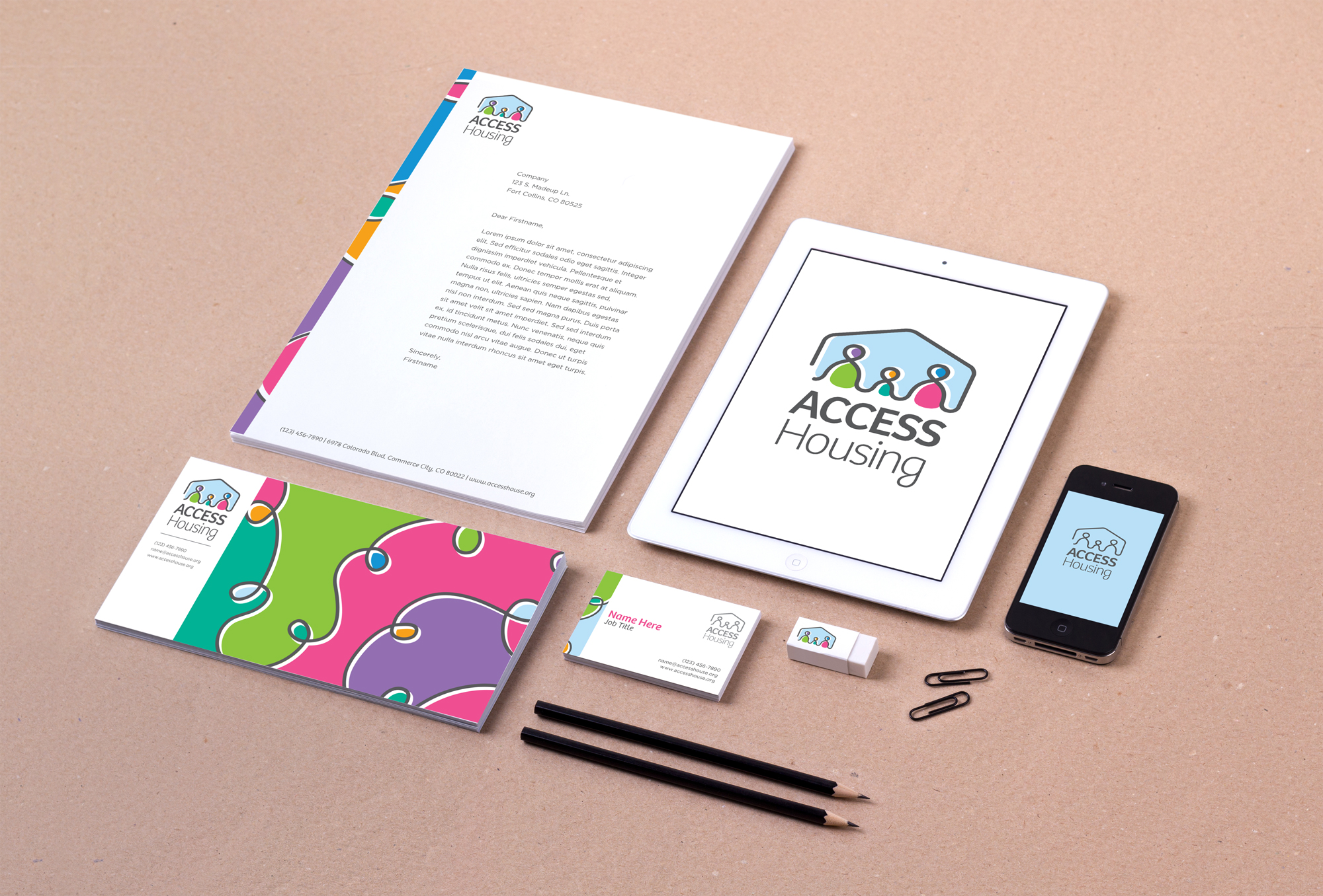 Letterhead, Business Cards, iPhone and iPad renderings, and various other Access Housing brand materials.