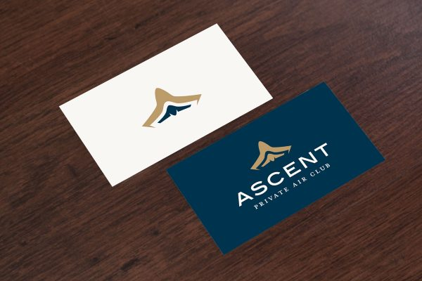 The Ascent Airlines logo mocked up on a business card