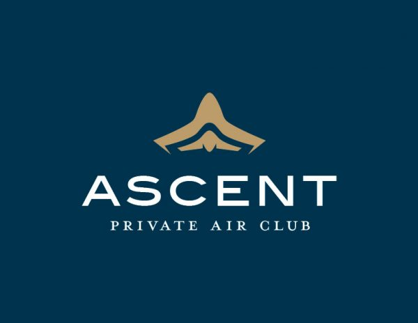 The Ascent Airlines primary 'ascending aircraft' logo