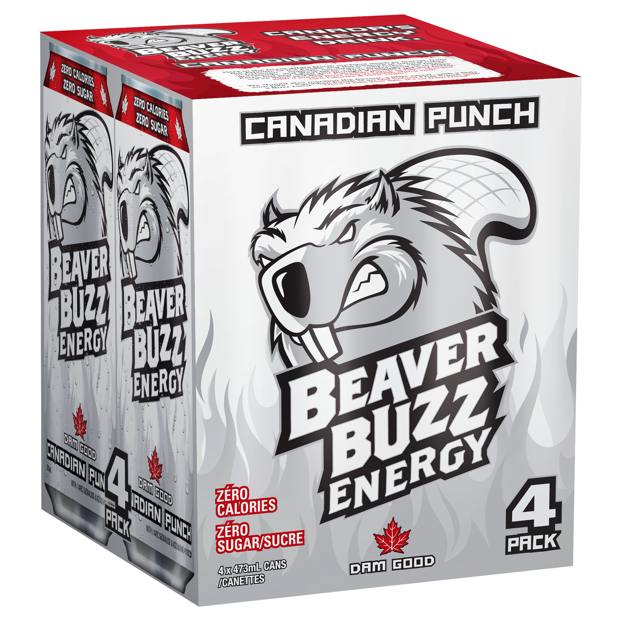 An energy drink design for the Beaver Buzz Canadian Punch 4-pack.