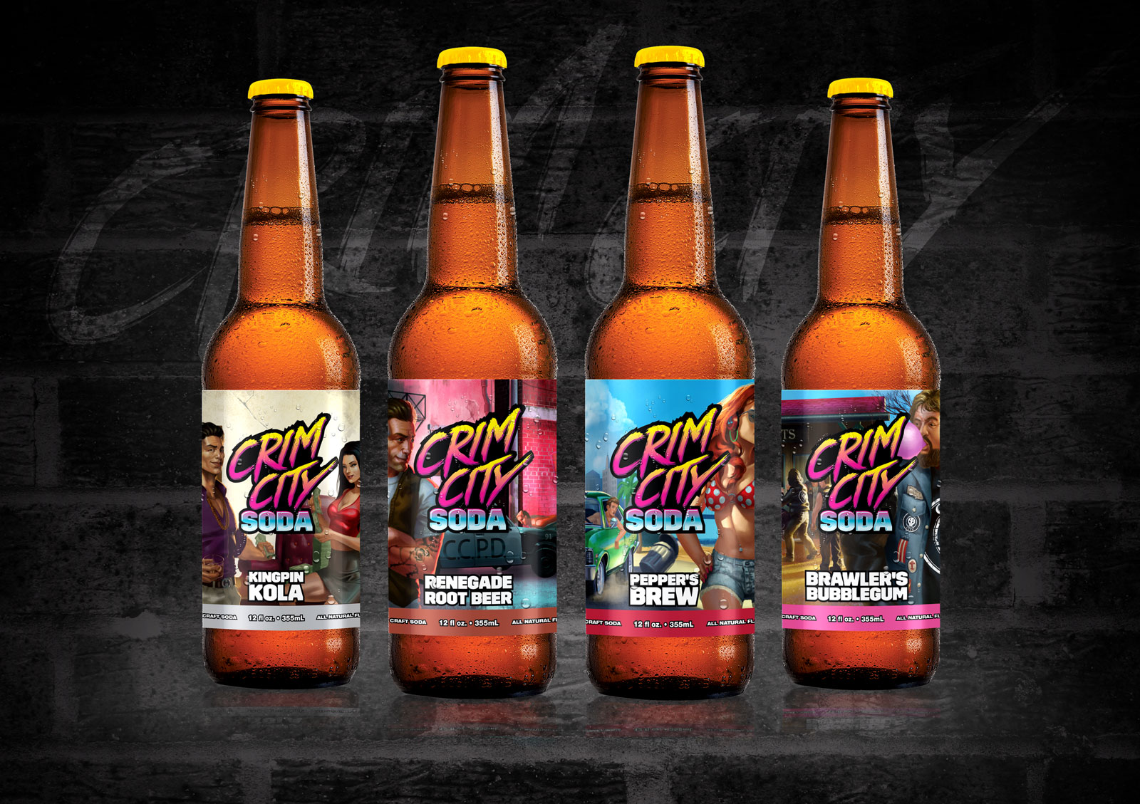 Crim City Craft Soda comes in four great flavors, Kingpin Kola, Renegade Root Beer, Pepper's Brew, and Brawler's Bubblegum.