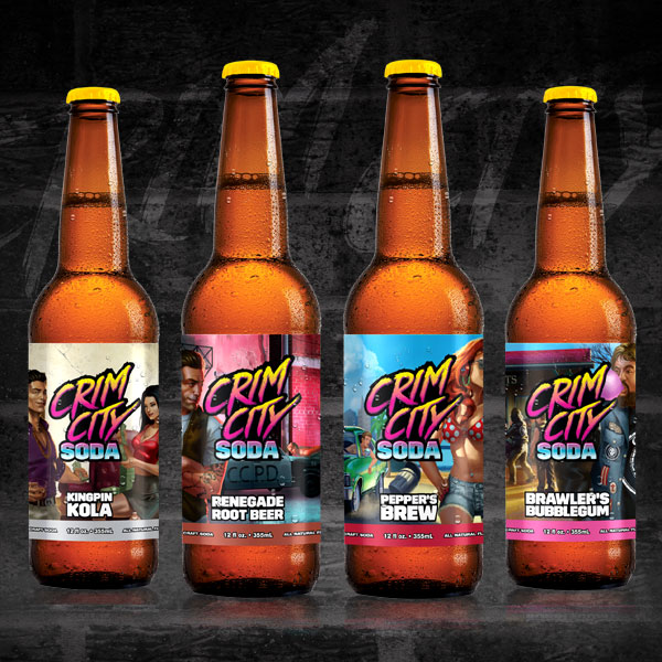Crim City's original craft soda flavors, as designed by Ripley Studios
