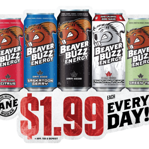 One of several POS stickers created by Ripley Studios for Beaver Buzz Energy
