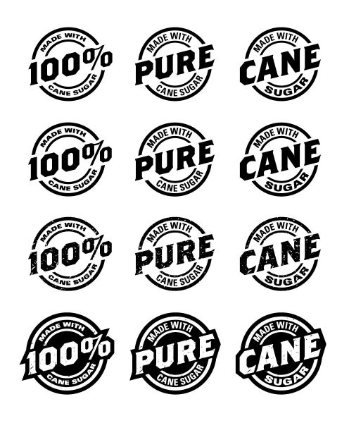 Beaver Buzz cane sugar badge logos, created as part of the Beaver Buzz brand refresh