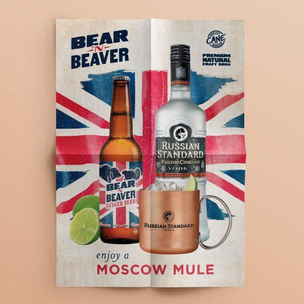 Bear 'n Beaver poster featuring Russian Standard Vodka